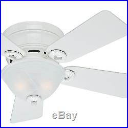 Hunter 42 in. Low Profile Ceiling Fan in Snow White with Bowl Light Kit