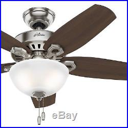 Hunter 42 in. Small Room Ceiling Fan in Brushed Nickel with Bowl Light Kit