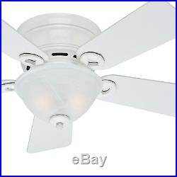 Hunter 42 inch Low Profile Ceiling Fan in Snow White with Bowl Light Kit