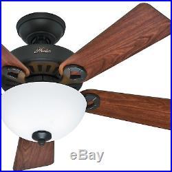 Hunter 44 Bronze Ceiling Fan with Cased White Light Kit
