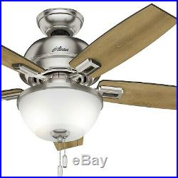 Hunter 44 Ceiling Fan in Brushed Nickel with LED Bowl Light Kit