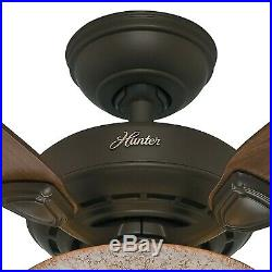 Hunter 44 New Bronze Ceiling Fan with Florence Glass Light Kit