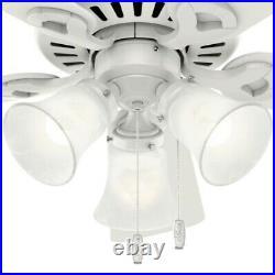 Hunter, 44 White Ceiling Fan w LED Light Kit w Bell Swirled Marble Glass Shades