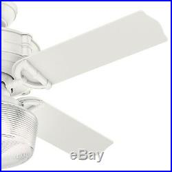Hunter 44 in Traditional Fresh White Ceiling Fan with Light Kit & Remote Control