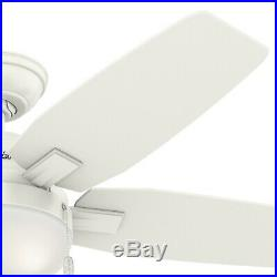 Hunter 46 Contemporary Ceiling Fan with Integrated Light Kit in Fresh White
