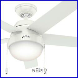 Hunter 46 Contemporary Low Profile Ceiling Fan with Light Kit in Fresh White