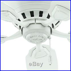 Hunter 46 Low-Profile Fresh White Ceiling Fan with Light Kit, 5 Blade
