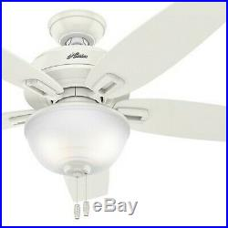 Hunter 48 Outdoor/Indoor Ceiling Fan in Fresh White with Bowl Light Kit
