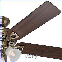 Hunter 52 Antique Brass Finish Ceiling Fan with Remote Control and Light Kit