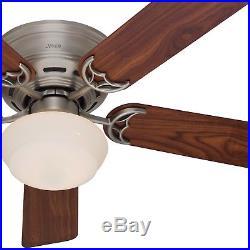 Hunter 52 Antique Pewter Flush Mount Ceiling Fan with Wood Blades & Light Kit