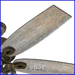 Hunter 52 Bright 3-Light Ceiling Fan Bronze Mason Jar Glass Kit Vintage Rustic