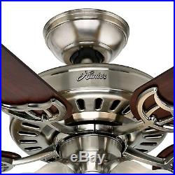Hunter 52 Brushed Nickel Ceiling Fan with Cherry/Maple Blades and Light Kit