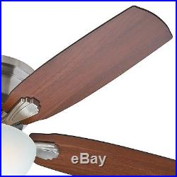 Hunter 52 Brushed Nickel Low Profile Ceiling Fan with Light Kit Cased White Glass