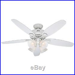 Hunter 52 Casual White Ceiling Fan 4-Light kit with Painted Cased White Glass