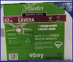 Hunter 52 Ceiling Fan Cavera II Light Kit, Remote, Smart WiFi Enabled Nickel