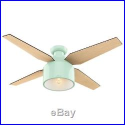 Hunter 52 Contemporary Ceiling Fan in Mint with LED Light Kit and Remote
