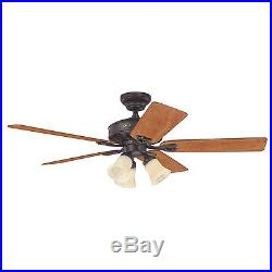 Hunter 52 New Bronze Ceiling Fan with Light 5 Blade Amber Scavo Light Kit
