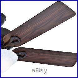 Hunter 52 New Bronze Ceiling Fan with Reversible Cherry/Walnut Blades & Light Kit