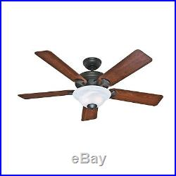 Hunter 52 New Bronze Traditional Ceiling Fan with Swirled Marble Glass Light Kit