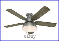 Hunter 52 Outdoor Low Profile Ceiling Fan with LED Light Kit in Matte Silver