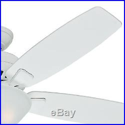 Hunter 52 Snow White Ceiling Fan with Five Snow White Blades and a Light Kit