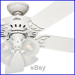 Hunter 52 White Ceiling Fan Reversible Bleach Oak/White Blade with Light Kit