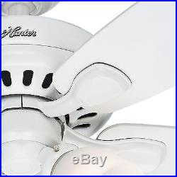Hunter 52 White Ceiling Fan with 3-Light Kit and Remote Control, 5 Blade