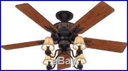 Hunter 52 in Bronze Indoor Downrod Or Close Mount Ceiling Fan with Light Kit