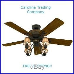 Hunter 52 in Bronze Indoor Downrod Or Close Mount Ceiling Fan with Light Kit NEW