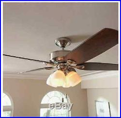 Hunter 52 in. Brushed Nickel Indoor Ceiling Fan W Light Kit and 3 Inch Downrod