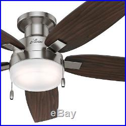 Hunter 52 in. Contemporary Ceiling Fan in Brushed Nickel with Light kit