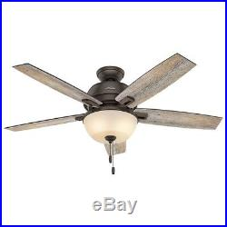 Hunter 52 in. LED Ceiling Fan in Onyx Bengal with Amber Glass Light Kit