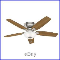 Hunter 52 in. Low Profile Ceiling Fan with LED Bowl Light Kit, Brushed Nickel