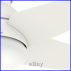Hunter 52 inch Low Profile Fresh White Ceiling Fan with Light Kit & Remote Control