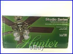 Hunter 53066 Studio Series 52 Indoor Bright Brass Ceiling Fan with Light Kit