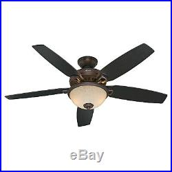 Hunter 54 Cocoa Ceiling Fan with Bowl Light Kit and Remote Control