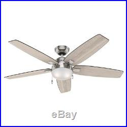 Hunter 54 LED Ceiling Fan with Light Kit in Brushed Nickel Contemporary