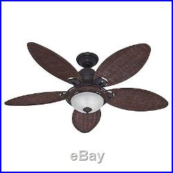 Hunter 54 Tropical Ceiling Fan with Bowl Light Kit in Noble Bronze