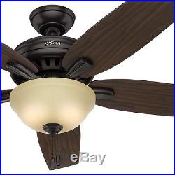 Hunter 56 Great Room Premier Bronze Ceiling Fan with Frosted Amber Light Kit