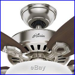 Hunter 56 in. Brushed Nickel Ceiling Fan with Cased White Bowl Light Kit