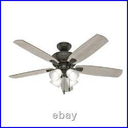 Hunter Amberlin 52 in. Indoor New Bronze LED Ceiling Fan with Light Kit
