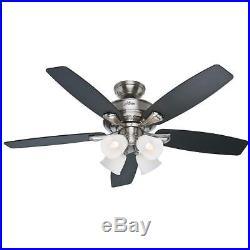 Hunter Belmor 52 in. Indoor Brushed Nickel Ceiling Fan with Light Kit, 52058