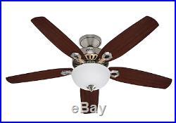 Hunter Builder Deluxe Brushed Nickel 132cm 52 Indoor Ceiling Fan with Light Kit