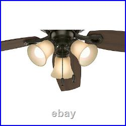 Hunter Builder Low Profile 52 Indoor Ceiling Fan with Light Kit, New Bronze