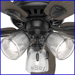 Hunter Ceiling Fan Light Kit 3-LED Light Bulbs 5 Blades Pull Chains Matte Black