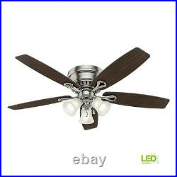 Hunter Ceiling Fan withLight Kit 52 in. Brushed Nickel 5 Blade Indoor Low Profile