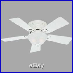 Hunter Conroy 42 in. Indoor White Low Profile Ceiling Fan with Light Kit
