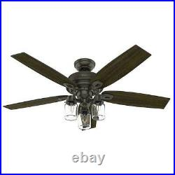 Hunter Crown Canyon II 52 in. LED Indoor Noble Bronze Ceiling Fan with Light Kit