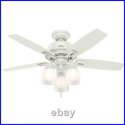 Hunter Donegan 44 Home Ceiling Fan with LED Light Kit and Pull Chains, White