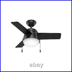 Hunter Fan 36 inch Casual Matte Black Ceiling Fan with Light Kit and Pull Chain
